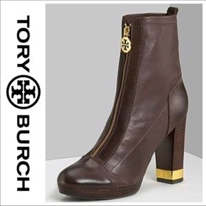 Tory Burch brown ankle zip-up boots